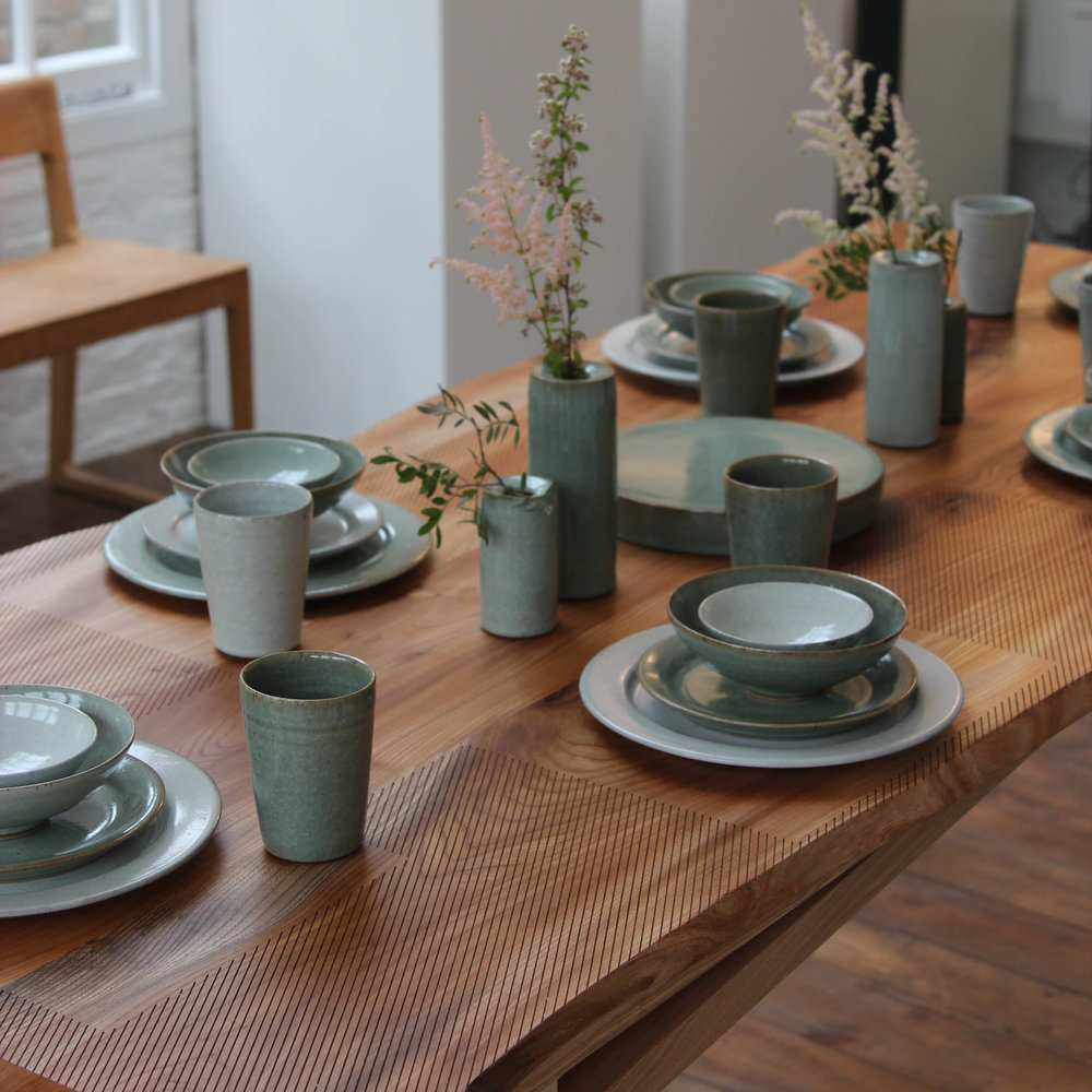 Laid Up: Florian Gadsby's dinner service rests on the Sebastian Cox table (pic: Florian Gadsby)