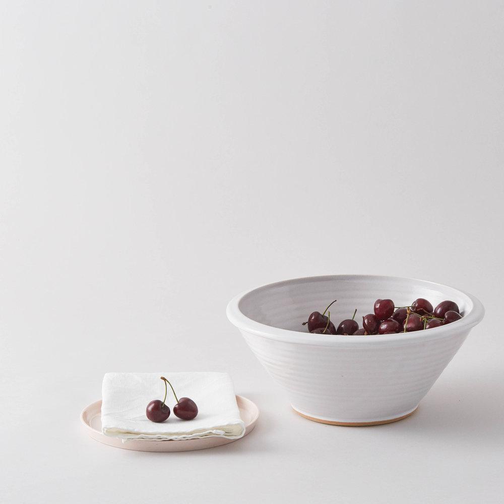 Small Ceramic Fruit Bowl Classic White Simple Shape