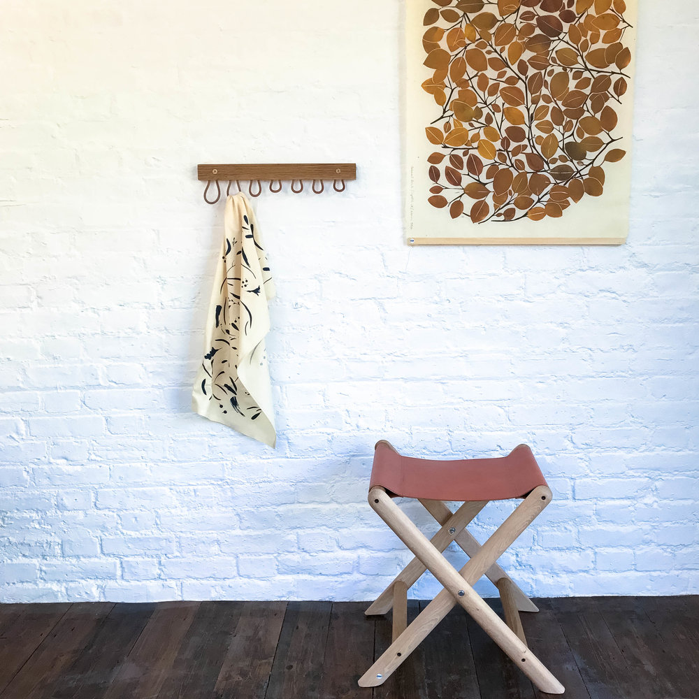 Hanging detail; Beech Leaf screen print, Flotsum Cotton Tea Towel and Folding Leather Stool