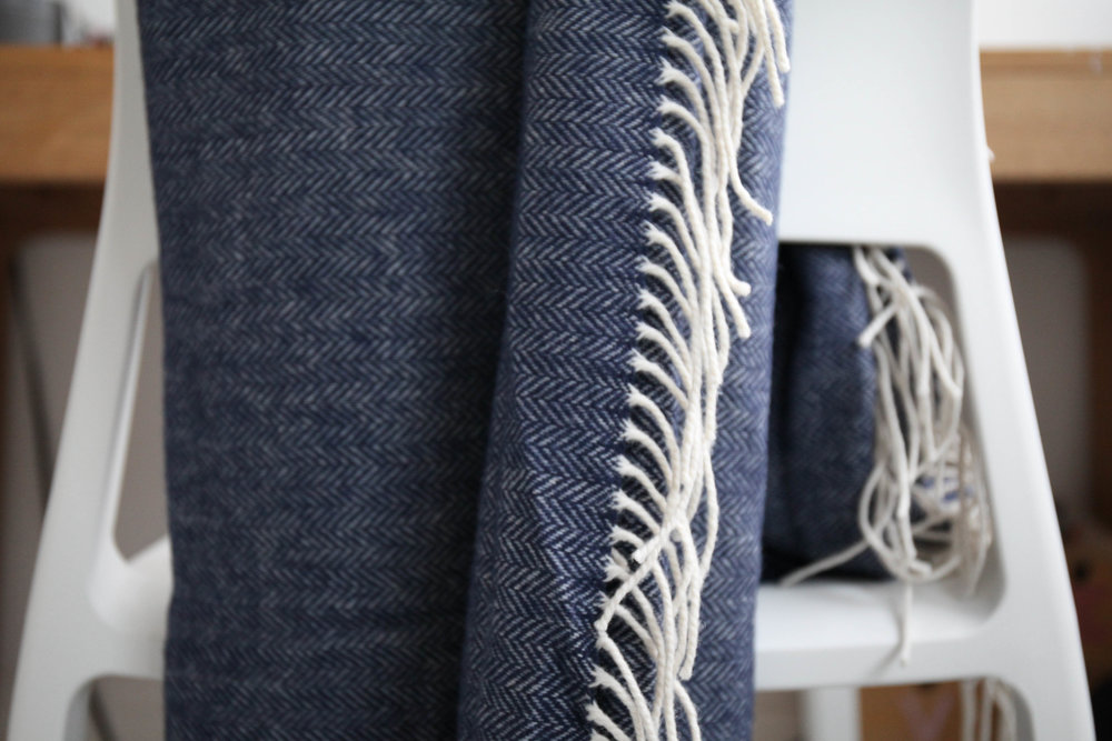 Super Soft; Denim Blue Herringbone Blanket, 100% lambswool.