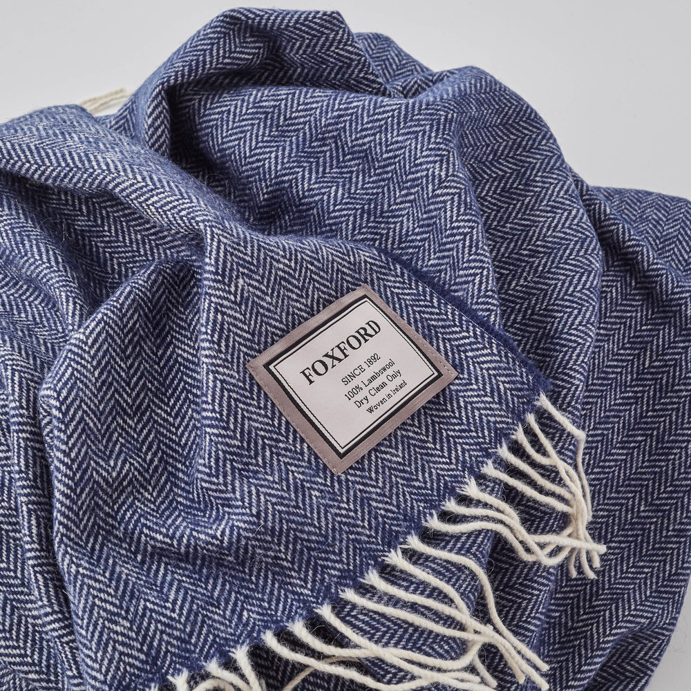 Up Close (& personal...that's your choice); Denim Blue Herringbone Blanket, £75