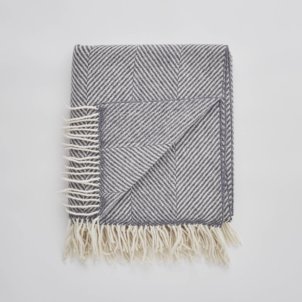 Traditional turn out; Storm Grey Herringbone Blanket, £80