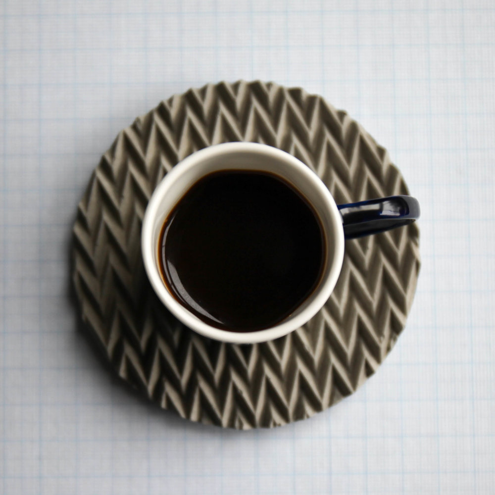 Single shot; Espresso Cup on an  Origami Concrete Coaster, £17.50