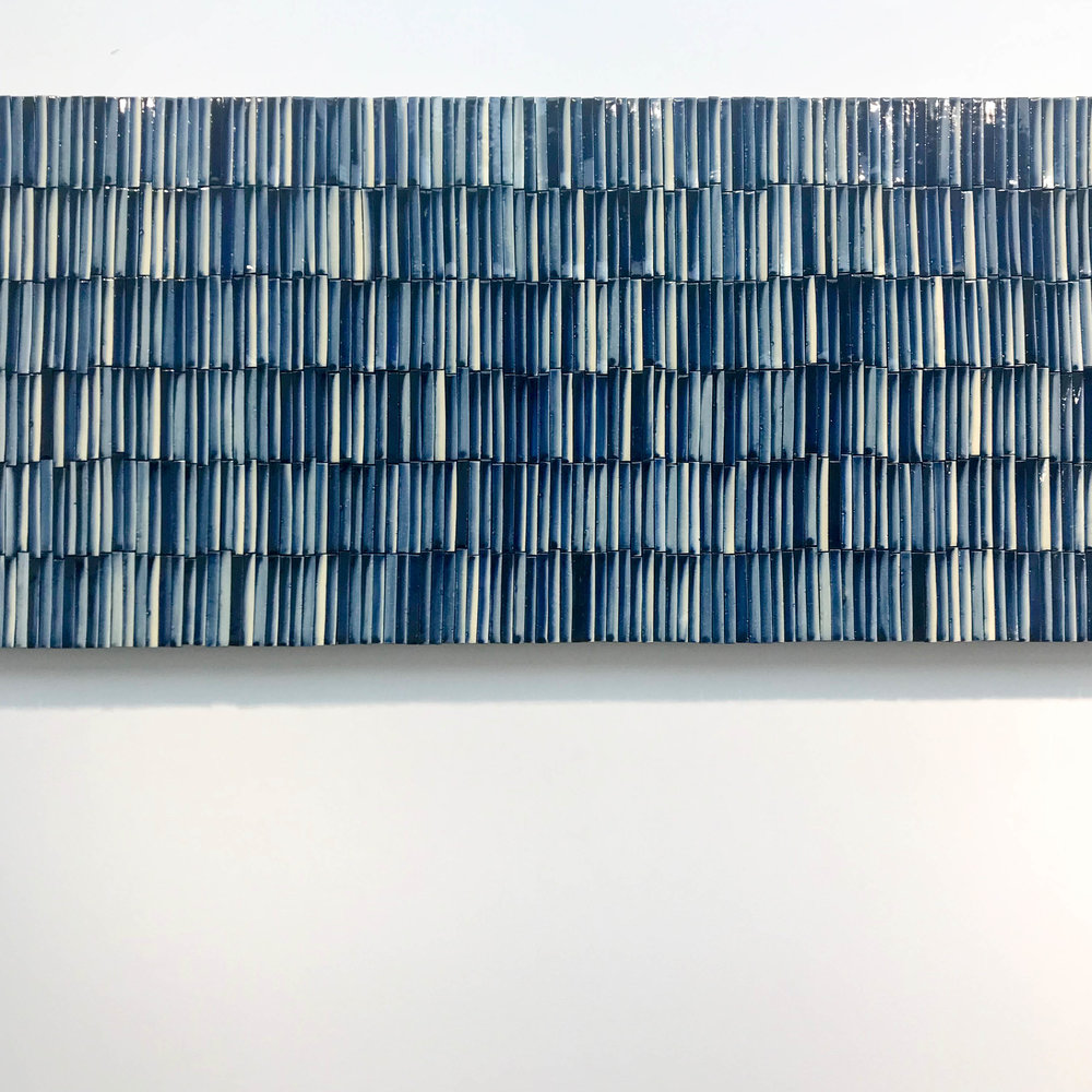 Sea 2017 (blue and white porcelain on canvas); Lee Eun. The Korean Craft & Design Foundation.