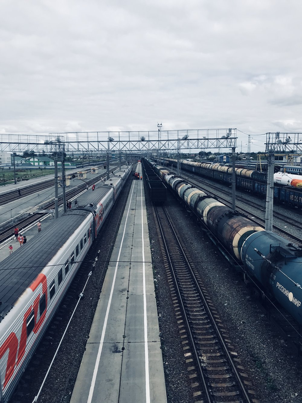 The Trans-Siberian train (left) and the endless freight (right).