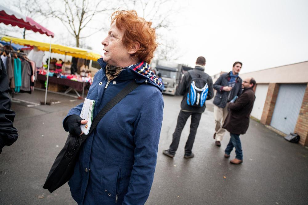 Reportage sur les élections départementales 2015. Campagne des candidats FdG et EELV pour le canton de Mons-En-Baroeul (59).  Publié dans L'Humanité.