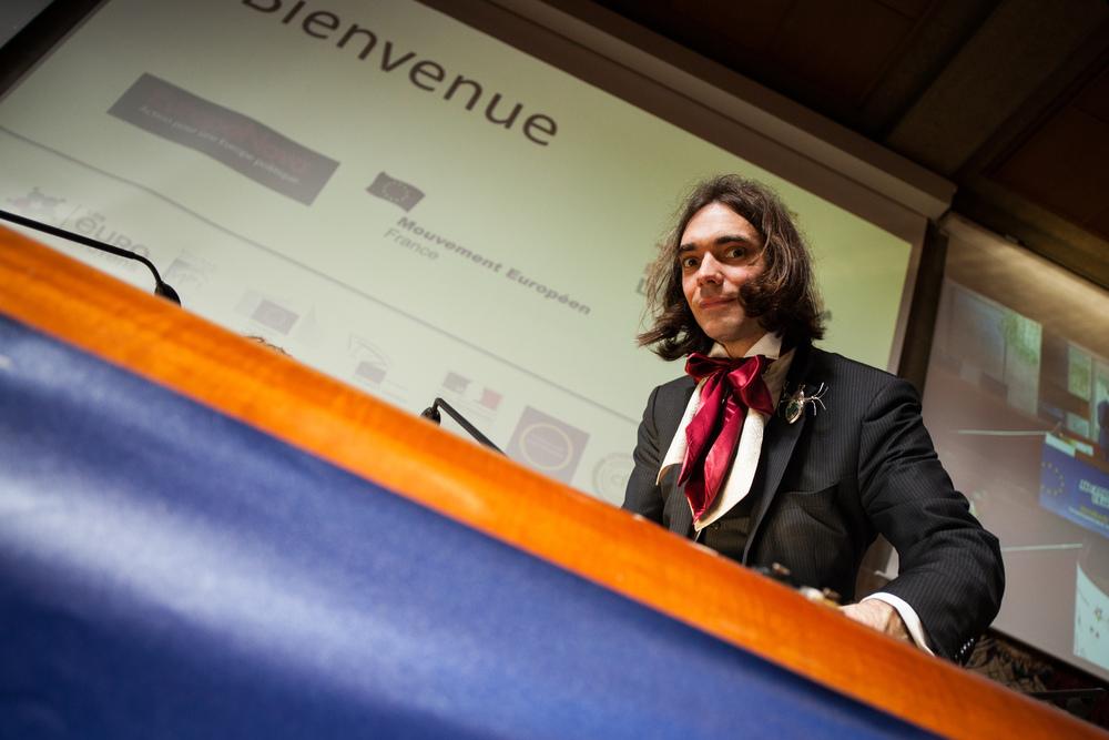 Cédric Villani, mathématicien français, médaille Fields 2010.  Etats Généraux de l'Europe, Paris, mai 2014. Mouvement Européen - France & Think Tank Europa Nova