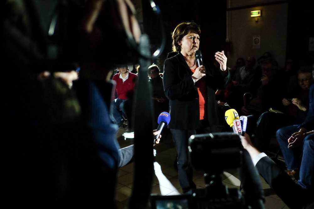 """Martine Aubry à Lille en février 2016. Elle participe au collectif """"Notre primaire"""", qui avait pour but de soutenir une primaire de toute la gauche."""