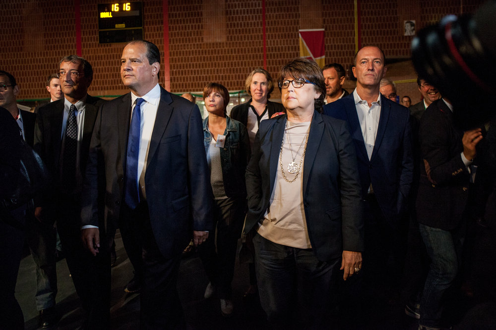 Jean-Christophe Cambadélis et Martine Aubry, lors d'un meeting organisé à Lomme en septembre 2016.