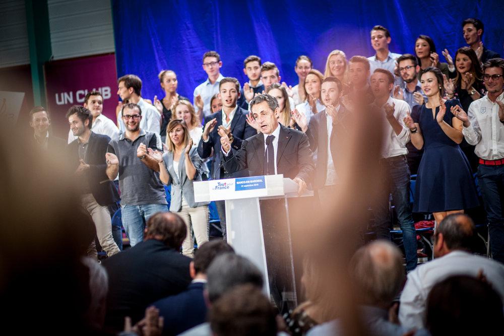 Nicolas Sarkozy, lors de son meeting dans la salle des sports de Marcq-en-Baroeul, en septembre 2016, en campagne pour la primaire des républicains. Publié dans Le Monde