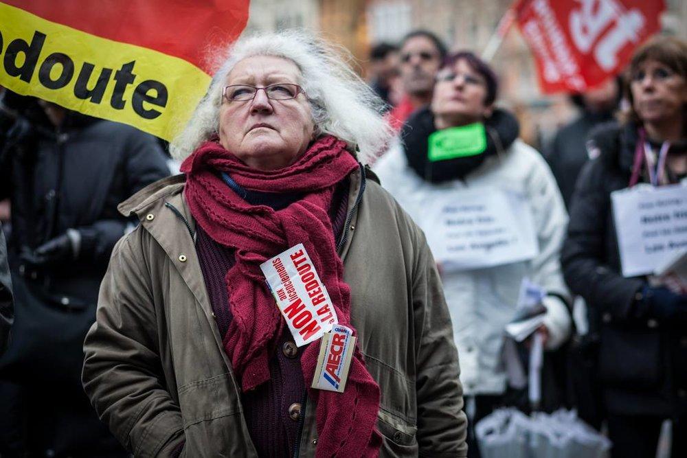 Manifestation des salariés de la Redoute à Lille pour la défense de leur emploi.  nov. 2013
