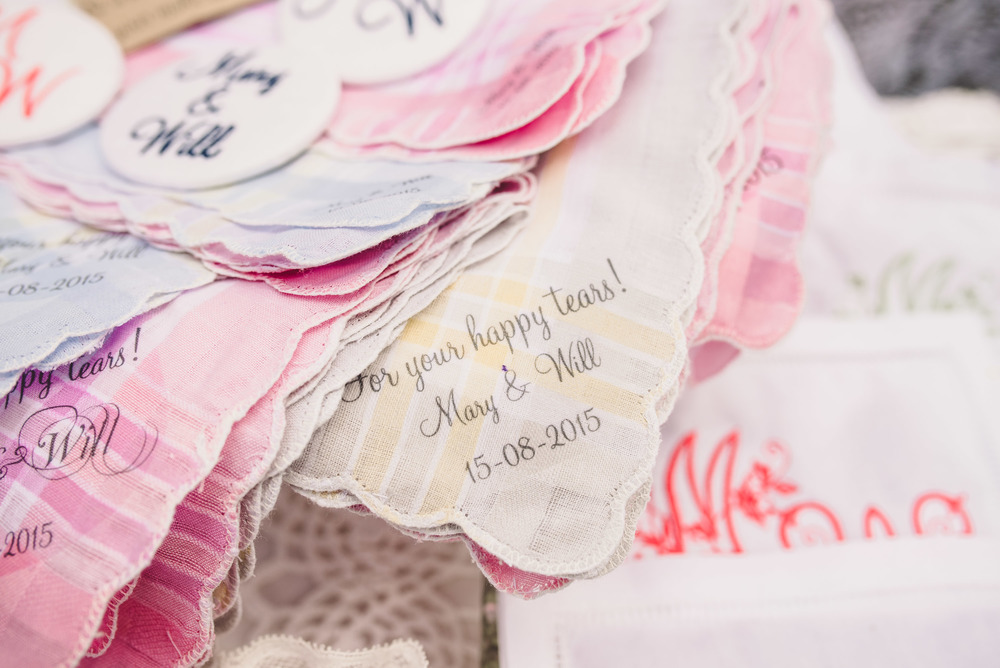 Hand finished Handkerchiefs by: Extra special Touch                                                                                                Photo Credit: Becky Ryan Photography