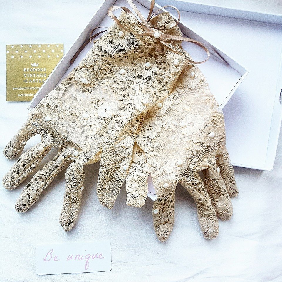 One of our best sellers are our crystal topped lace gloves, we have them in many colours