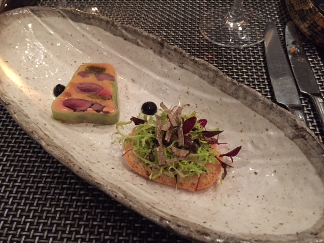 Tony Borthwick's Grouse, foie gras, truffle - paired with a Pinot Gris, A to Z Winery, Oregon, USA, 2014