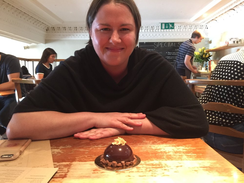 Helen Vass pictured when I first met her in Kember & Jones, with her own handmade chocolate entremet!  (First published in  The Herald .)