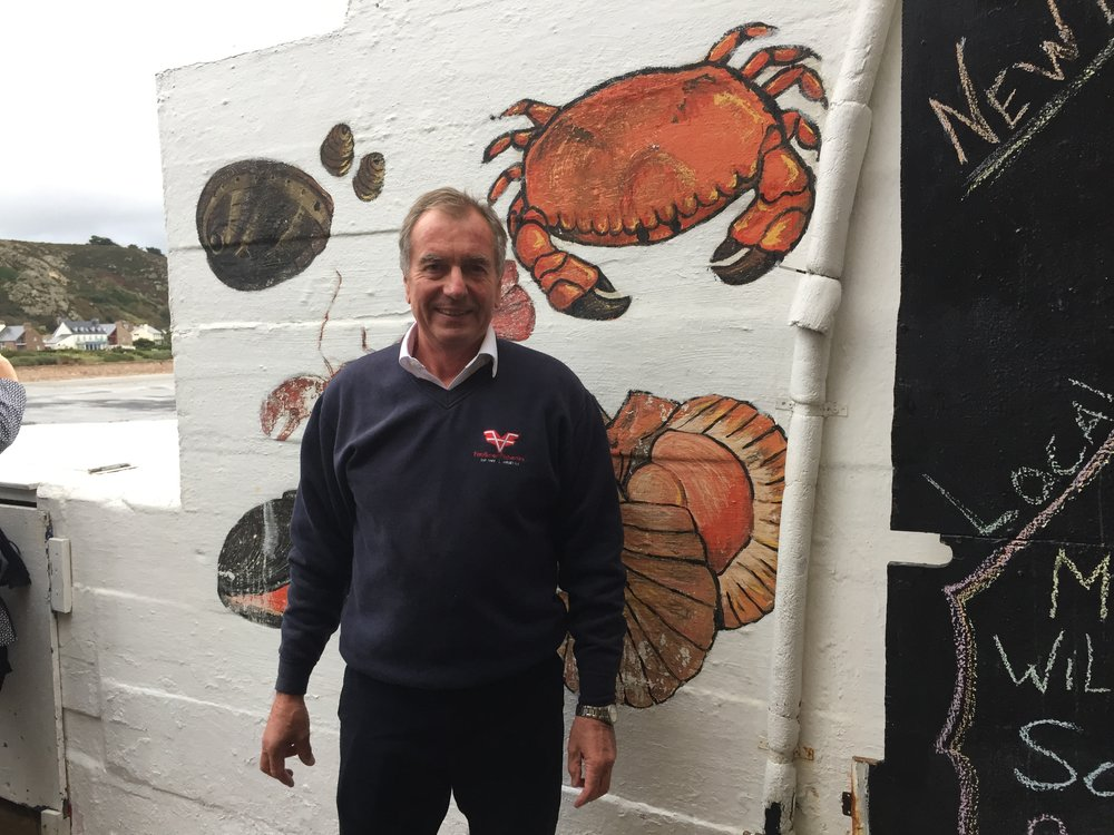 Sean Faulkner of Faulkner Fisheries with some of his fresh shellfish. Andrew Fairlie used his lobster for his signature dish at EatJersey 2016.