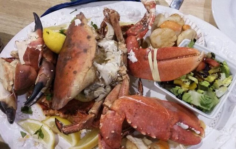 The £100 made-to-order fresh seafood sharing platter at Lochindaal Hotel, POrt Charlotte, Islay.