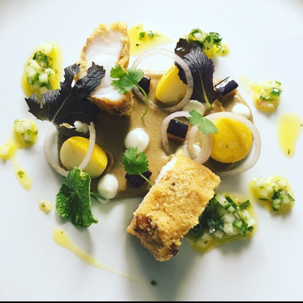 ... Portree Bay monkfish, spiced aubergine purée, cucumber and culisse rapeseed oil  ...