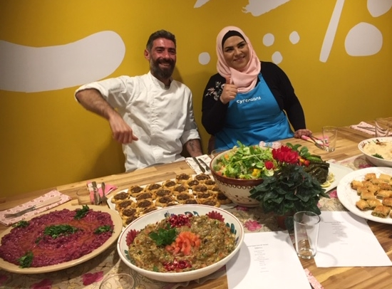 Professional chef Riyad Youssef and primary teacher Noura Selibi, both Syrian war refugees, cook the food of their homeland for Edinburgh diners. Below left: Riyad's legendary hummous, and Noura's meat pies. Her orange pastry cutters came with her from Palmyra.