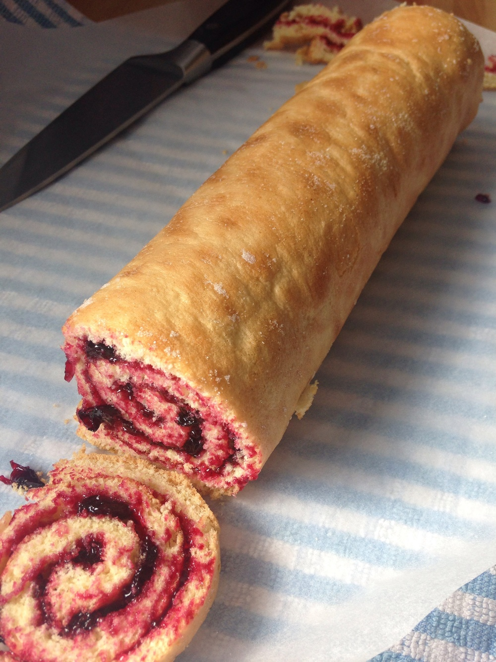 Homemade Swiss roll with homemade Blackcurrant jam.