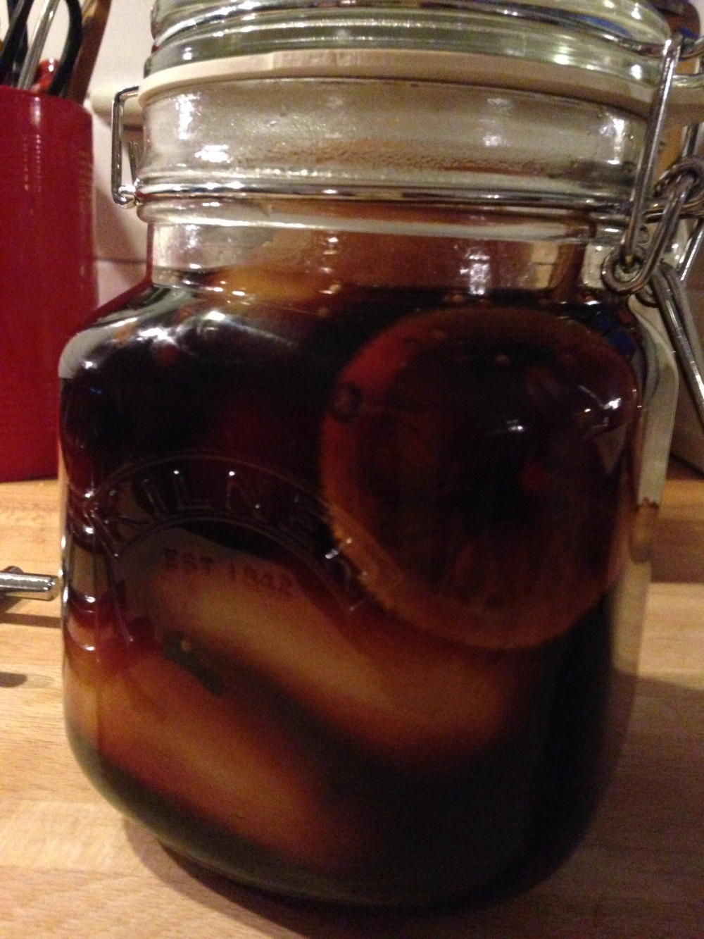 Pickled pears all jarred with spiced orange & pepper vinegar.