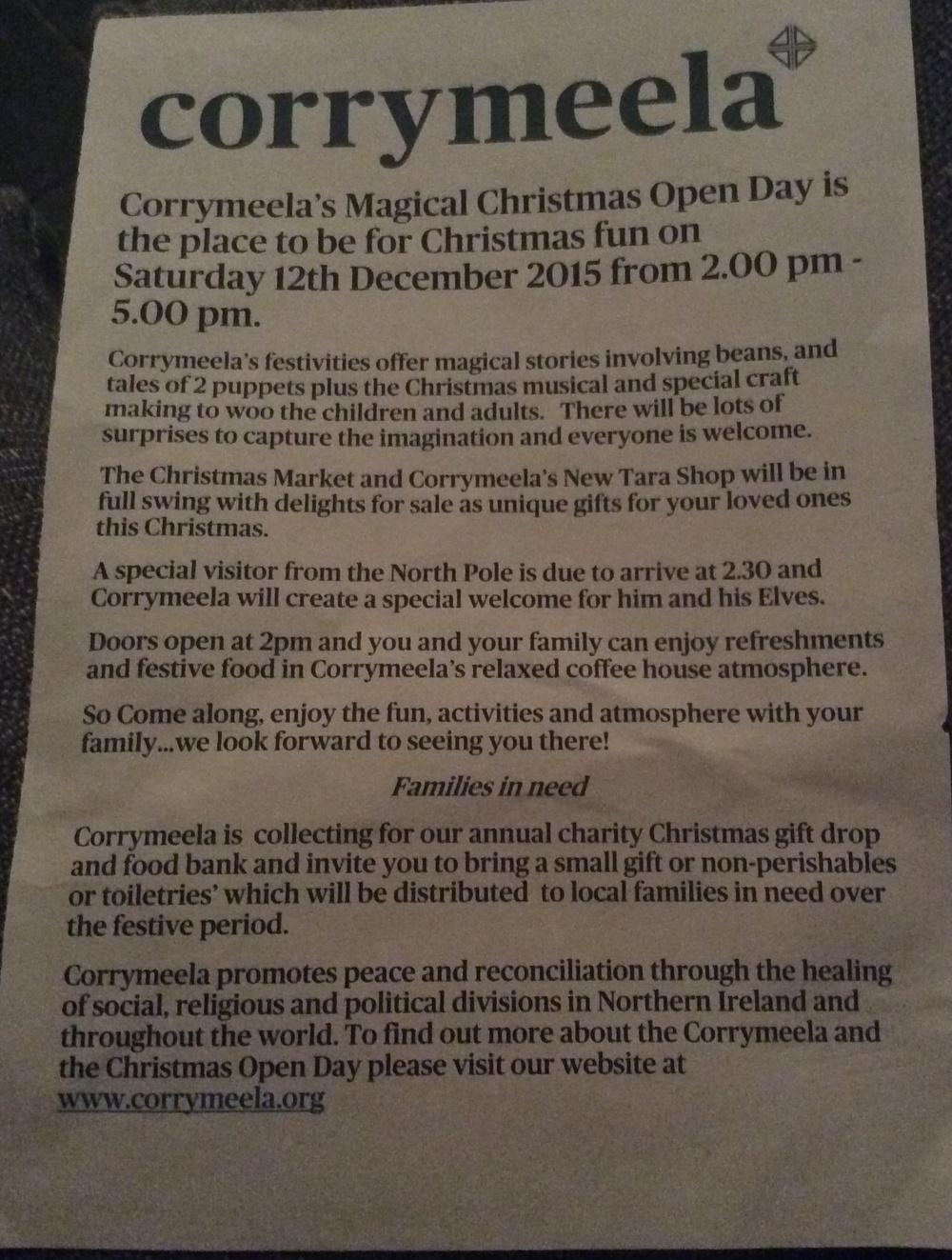 Corrymeela Christmas Open Day.