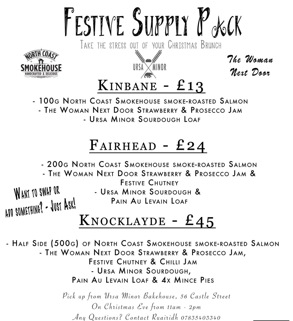 Flyer for Festive Supply Packs.