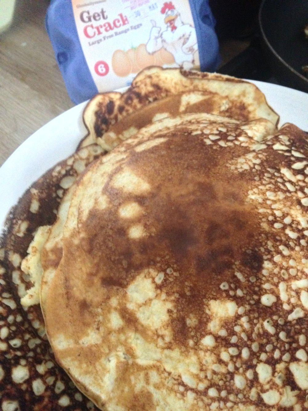 Pineapple protein pancakes with Glenballyeamon free range eggs.