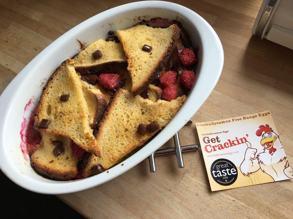 Raspberry & dark chocolate bread & butter pudding.