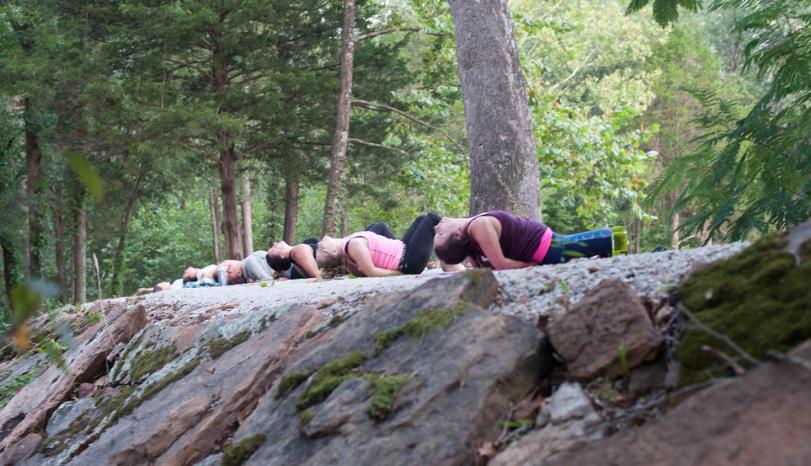 morning yoga at you.are.venus. holistic retreat in okahoma