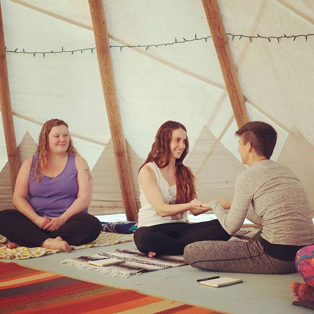 I see you, I am here. Intentional Movement at our past retreat led by @oneflowerchild opened our hearts, moved our bodies and effortlessly connected us as one within that Tipi.