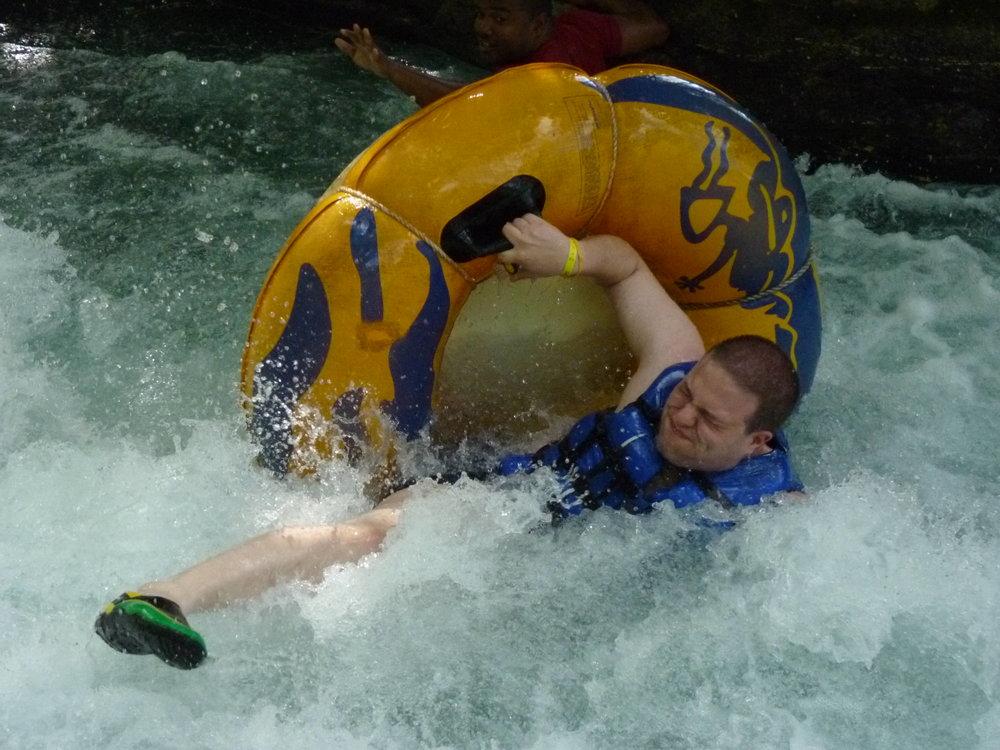 Water tubing on Steve.JPG