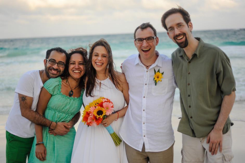 Chris and Upal at their friends' wedding in Mexico