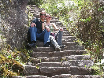 Joseph, with wife and business partner Nicole Salotti, hiking to the Temple of the Moon Machu Picchu, Peru