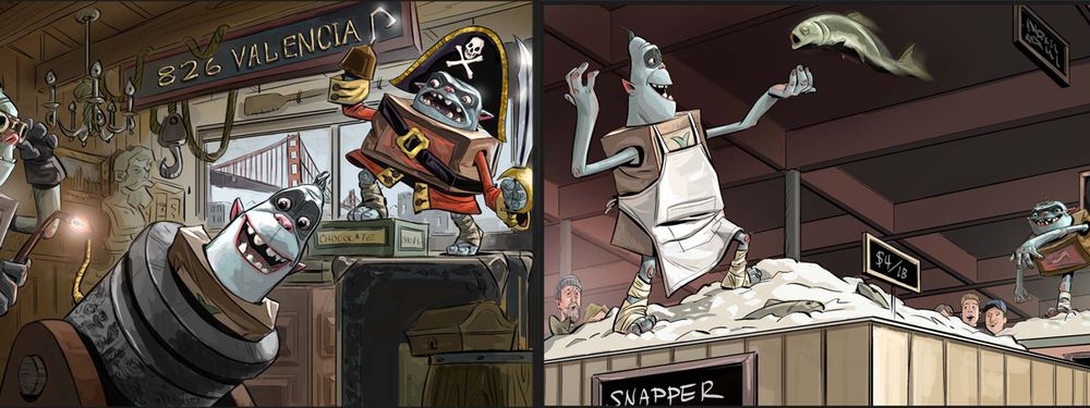 Boxtrolls storyboard created with Photoshop & Wacom Tablet