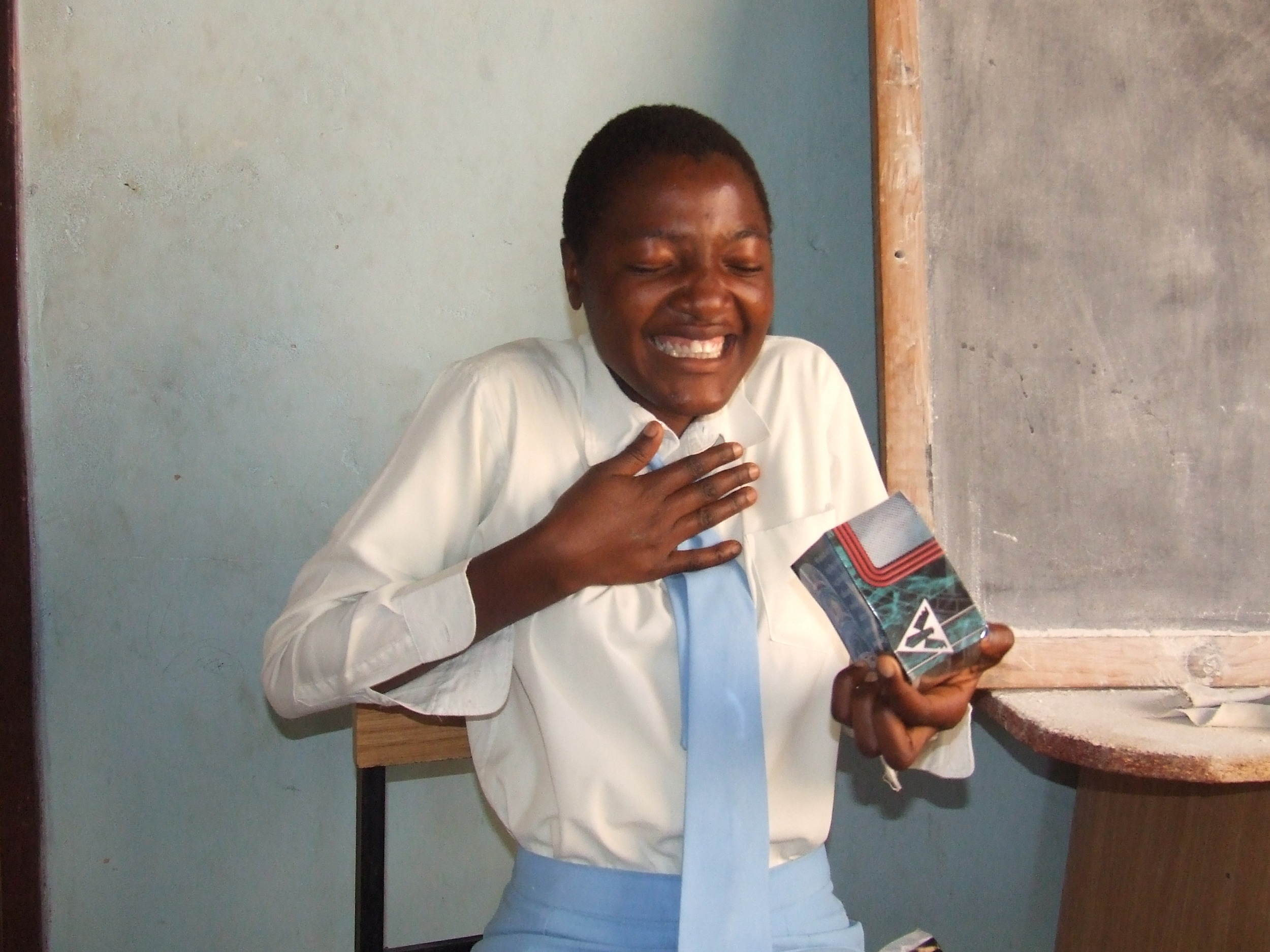 Gladys is ecstatic to have a received a letter and small gift from her sponsor.
