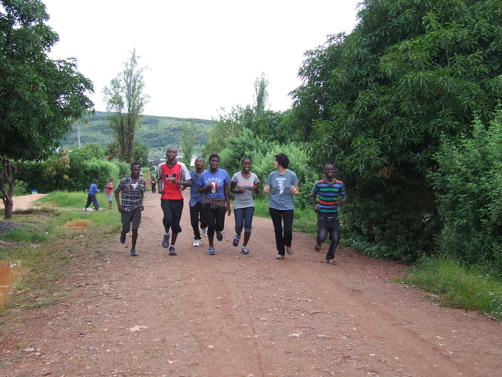 The running club starts off for a 5k jog.