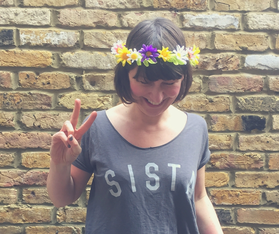 It's a Sisterhood revolution man! SISTA t-shirt from Selfish Mother, band 'o' plastic florals from Tiger (this time next year will be upgrading adornments to Boodles...!)