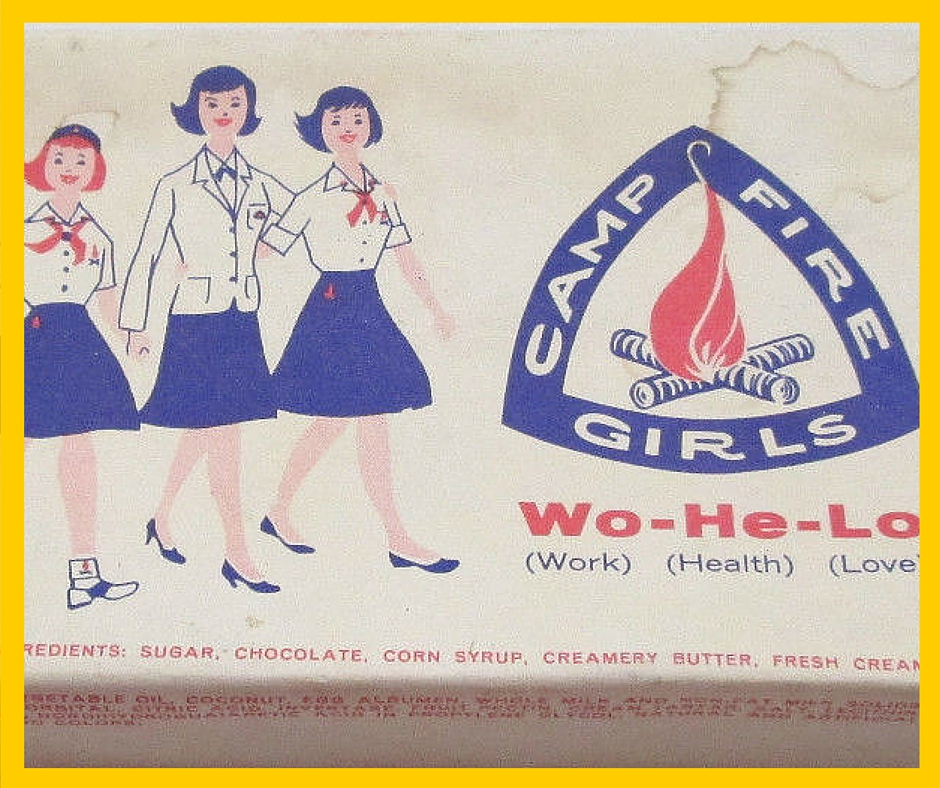 Vintage Camp Fire Girls candy box (available to buy on Ebay)