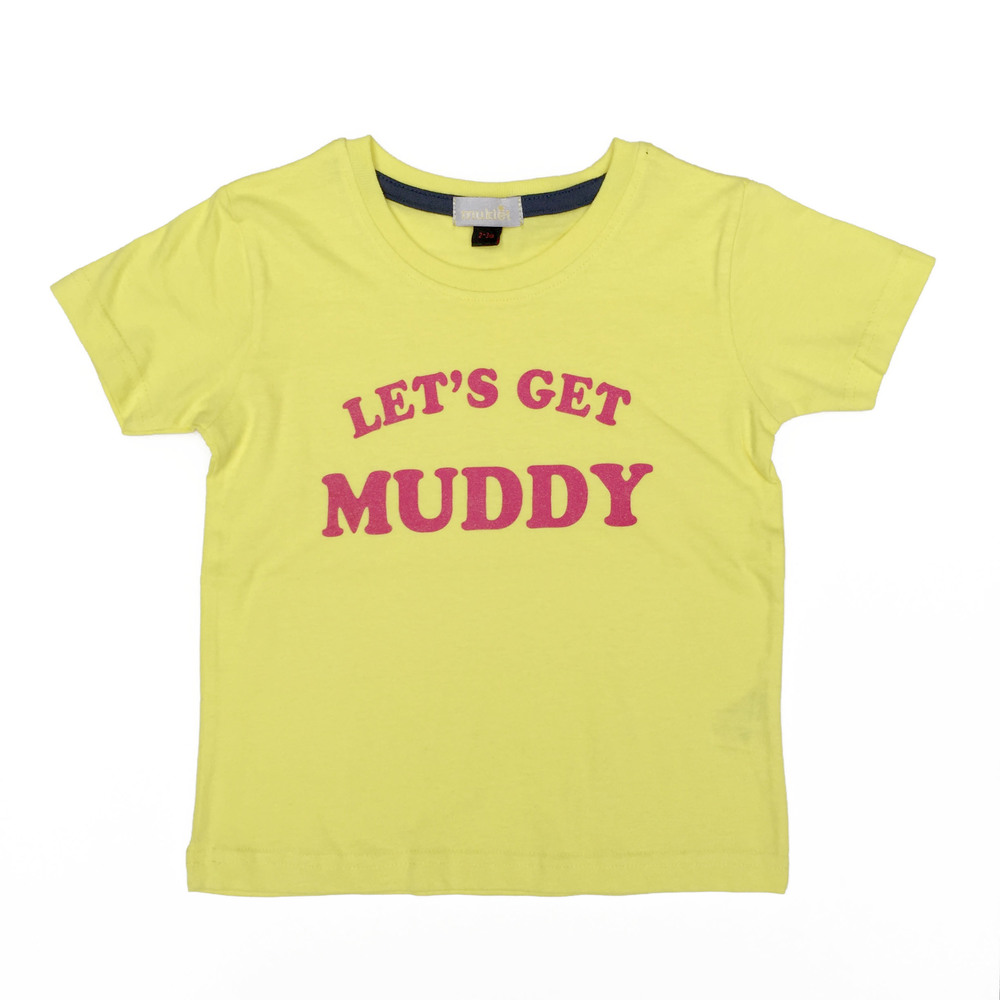 Kids 'Let's get Muddy' T-shirt' £14. All proceeds go to Cancer Research