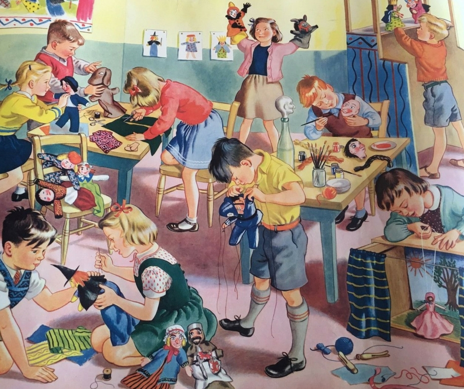 Nurseries of yester-year before Health & Safety banned needles, scissors and social stereo-typing puppets! Image found via  Ebay