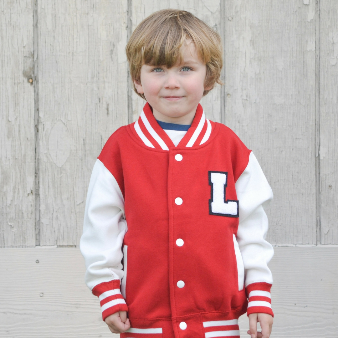 Personalized Varsity Jacket Red White Youth The Letterman Co