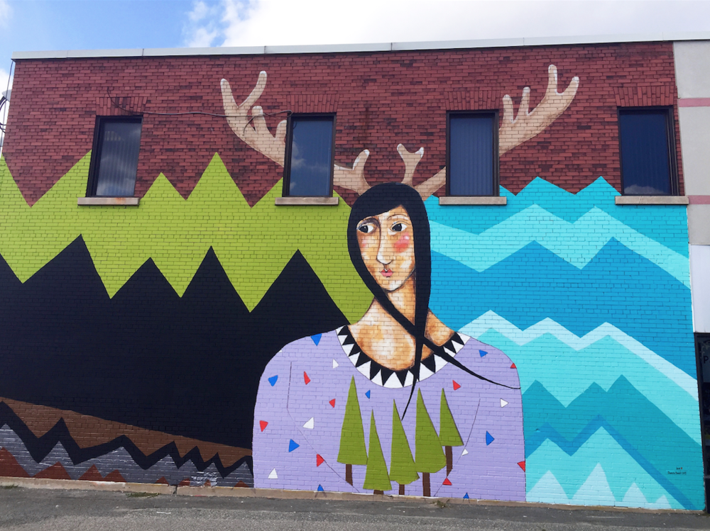 A mural I painted for the 2015 UpFest Festival. Medina Lane, Sudbury, ON entitled 'Dear Sudbury'