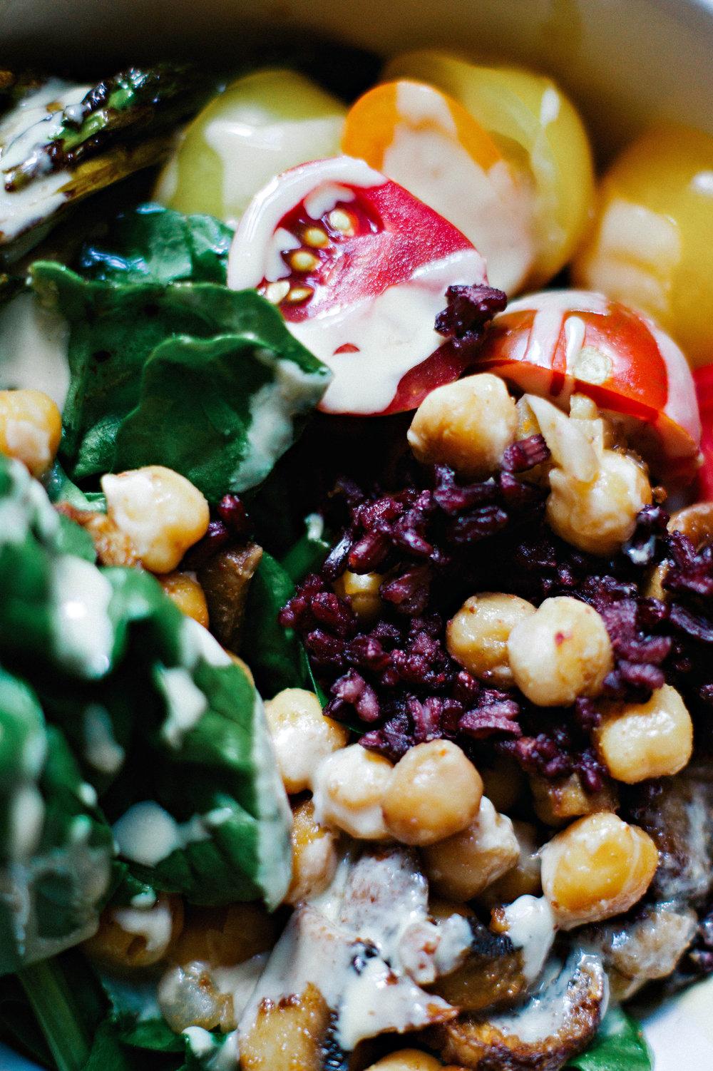 Roasted Chickpea & Mushroom Veggie Bowls