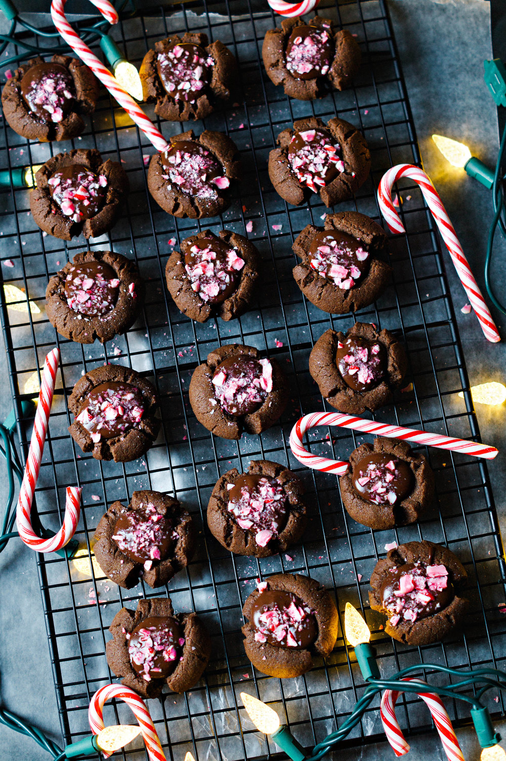 Double Chocolate Peppermint Thumbprint Cookies