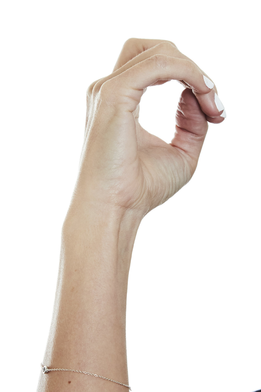 The thumb is curved into a C shape -