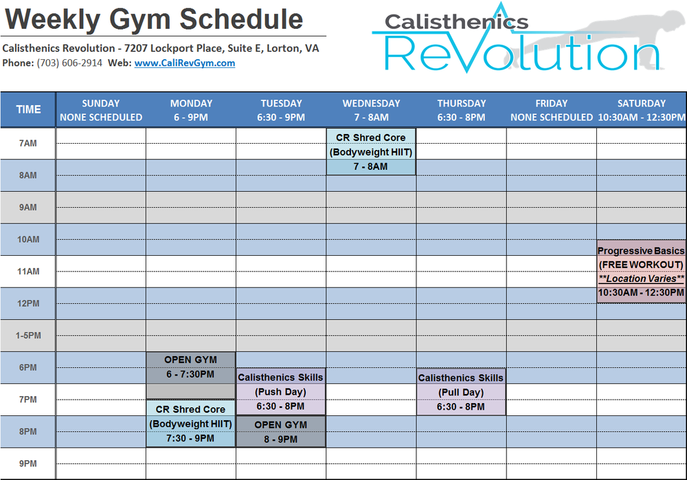 CaliRevGymSchedule