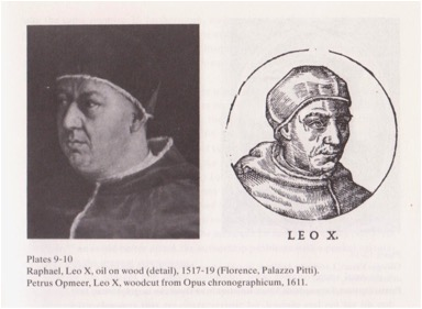 Painting and Opmeer woodcut of Pope Leo X