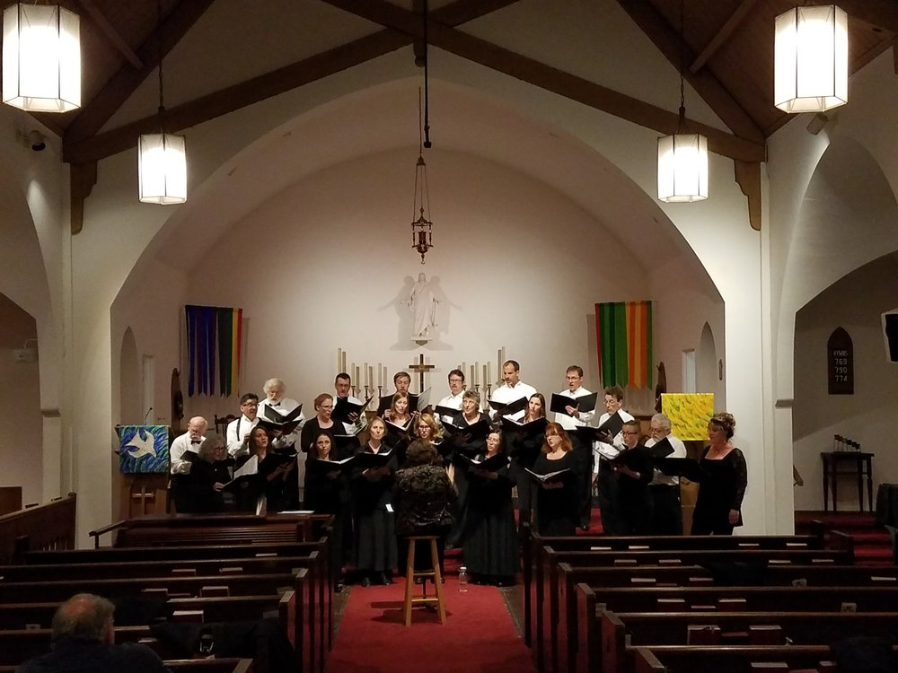 Jouyssance preparing to sing The Greatest Hits of 1525 on Saturday, October 15, 2016 at Lutheran Church of the Master in West LA.