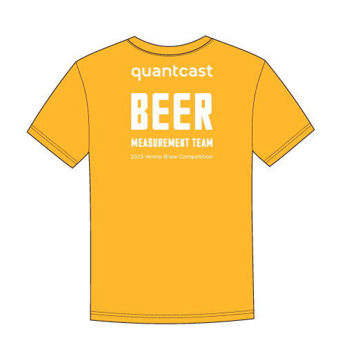 Back:   Quantcast word mark at width of  QMark on front, on shoulders.  Creative: Can use any typeface, but should adopt the vernacular of the theme, and be authentic.